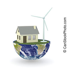 renewable energy - half of an earth globe with a house and...