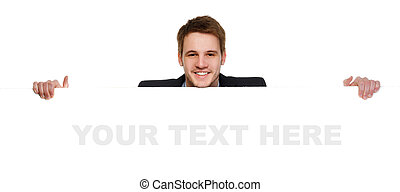 Young businessman holding a whiteboard Concept - a...