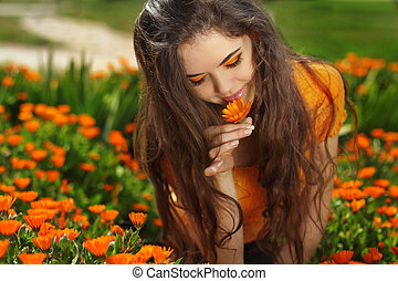 beleza, morena, romanticos, menina, Ao ar livre, bonito,...