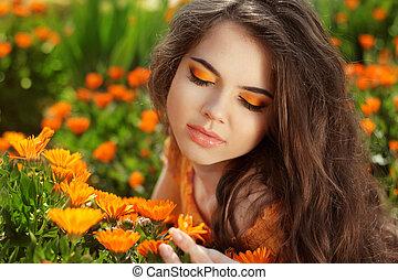 Beauty Romantic Girl Outdoors. Eye makeup. Beautiful Teenage...