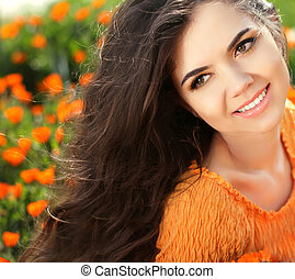 Happy smiling girl. Beautiful Brunette Girl. Healthy Long...