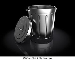 trash can - 3d illustration of trash can over black...