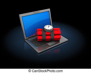 computer and bomb - 3d illustration of laptop computer with...