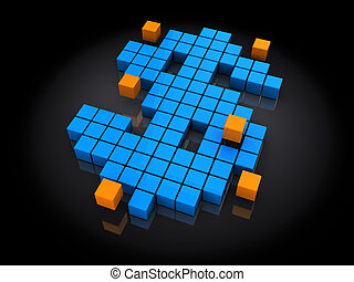 dollar sign - 3d illsutration of dollar sign built with blue...
