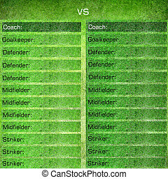 Soccer background with team lists - Green soccer background...