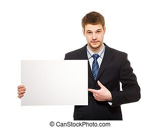 Young businessman holding a whiteboard. Concept - a...