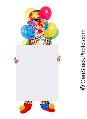 Birthday clown holding the blank board