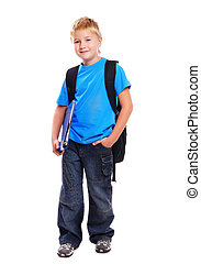 portrait of a schoolboy isolated on white background