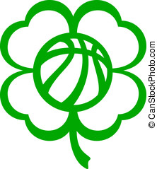 Basketball Four Leaf Clover - Vector illustration of a...