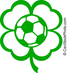 Soccer or Football Four Leaf Clover - Vector illustration of...