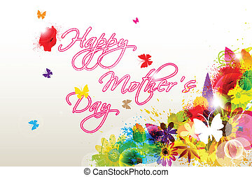 Floral Happy Mothers Day - easy to edit vector illustration...