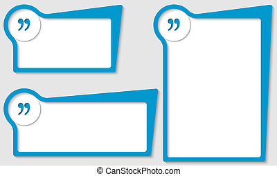set of three boxes with quotation mark