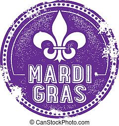 Mardi Gras Holida Stamp - Vintage style Mardi Gras...
