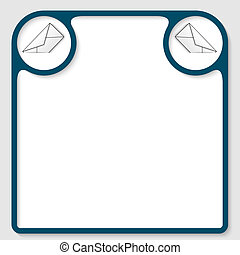 blue text frame with envelope