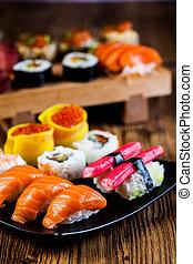 Tasty sushi set, Japanese food - Fresh and tasty sushi set