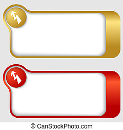 set of two abstract text frames with flash mark