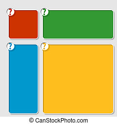 set of four colored box for any text with question mark