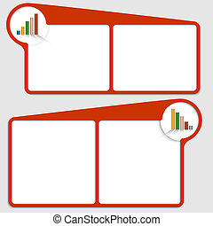 red vector text frame with graph