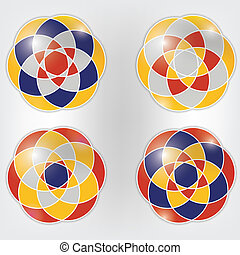 Set of four colorful vector ornaments