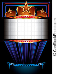 Cinema poster - Illuminated big cinema marquee with stars