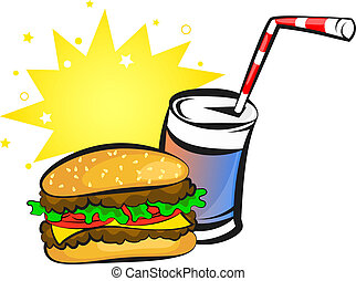 burger and soda - burger and can of soda, animation, vector