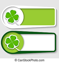 set of two boxes for any text with cloverleaf
