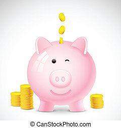 Coin falling into Piggy Bank - illustration of coin falling...