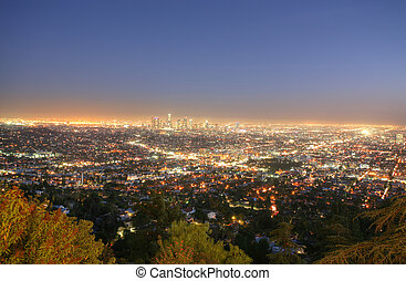 Los Angeles, California skyline in the twilight