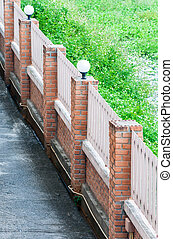 Brick fence of the European style house.