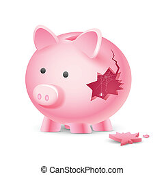 Financial Crisis - illustration of broken piggy bank with...
