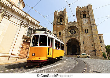 Lisbon Cathedral and tram - The Lisbon Cathedral with a...