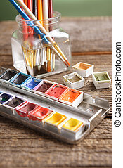 Watercolor - Professional watercolor aquarell paints in box...