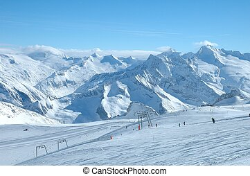 Ski slopes on Hintertux glacier in Alps nearby Zillertal...