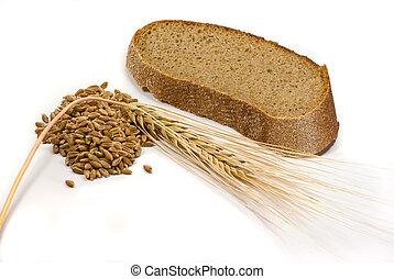 cebada, granos, oreja, pedazo, bread