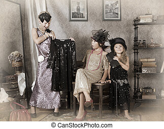 Three little Old-fashion girls - Little girls playing with...