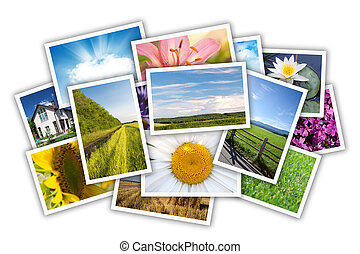 Stack of printed pictures collage Isolated on white...