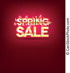 Golden spring sale poster, leafs and light beams