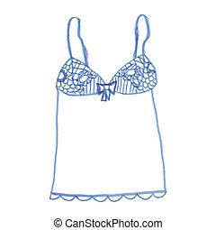 Hand drawn vector sexy lingerie set - Felt-tip pen sketch...
