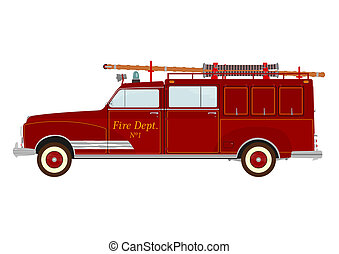 Firetruck - Vintage fire truck with a ladder on a white...