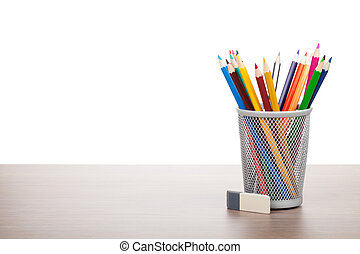 Colorful pencils and eraser