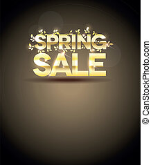 Golden spring sale message on a brown background