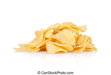 Potato chips heap Isolated on white background