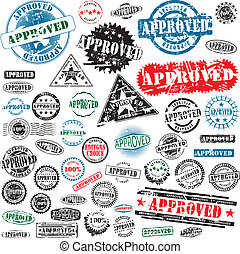 Approved rubber stamps collection - Collection of grunge...