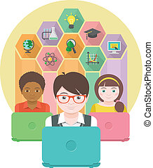 Education by Computer - Conceptual flat illustration of the...