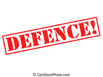 DEFENCE! red Rubber Stamp over a white background.