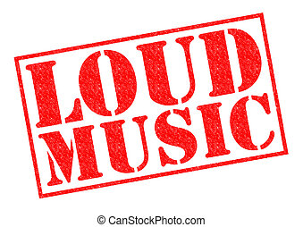 LOUD MUSIC red Rubber Stamp over a white background