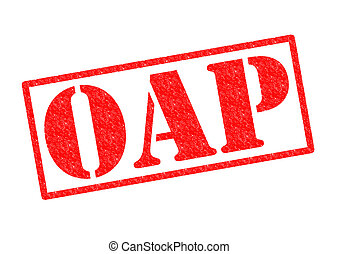 OAP Rubber Stamp - OAP red Rubber Stamp over a white...