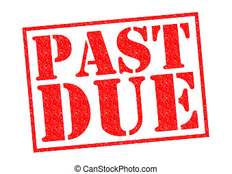 PAST DUE red Rubber Stamp over a white background