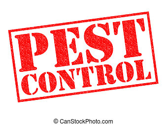 PEST CONTROL red Rubber Stamp over a white background.