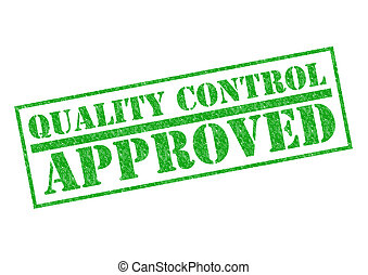 QUALITY CONTROL APPROVED green rubber stamp over a white...